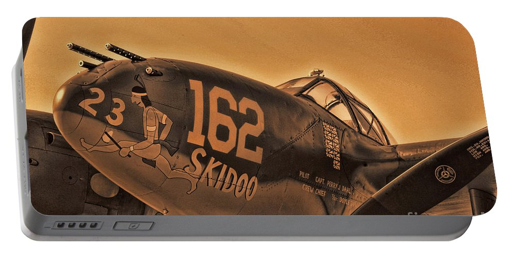 Lockheed P-38 Lightning Portable Battery Charger featuring the photograph Skidoo by Tommy Anderson