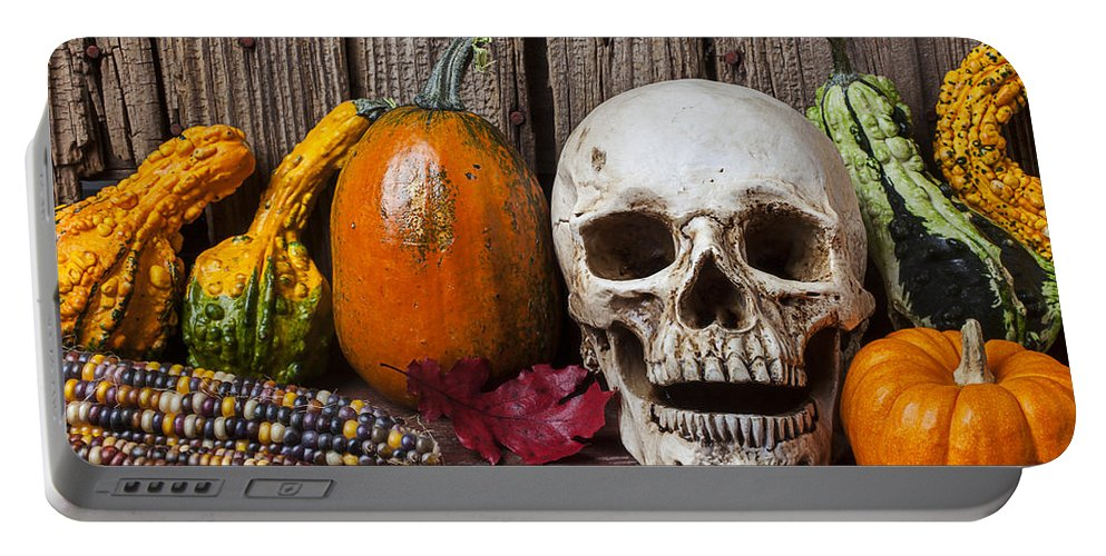 Skull Portable Battery Charger featuring the photograph Skull And Gourds by Garry Gay