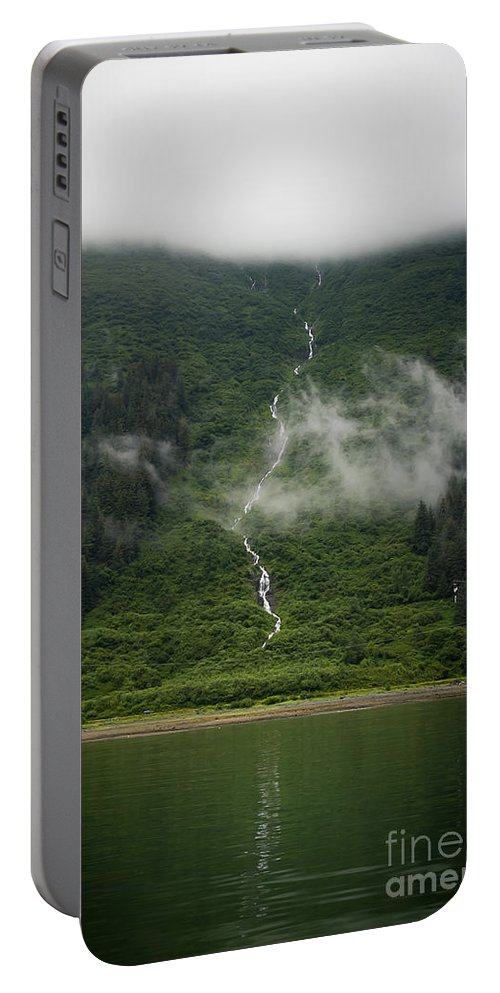 Alaska Portable Battery Charger featuring the photograph Slim Waterfall From The Haze by Darcy Michaelchuk