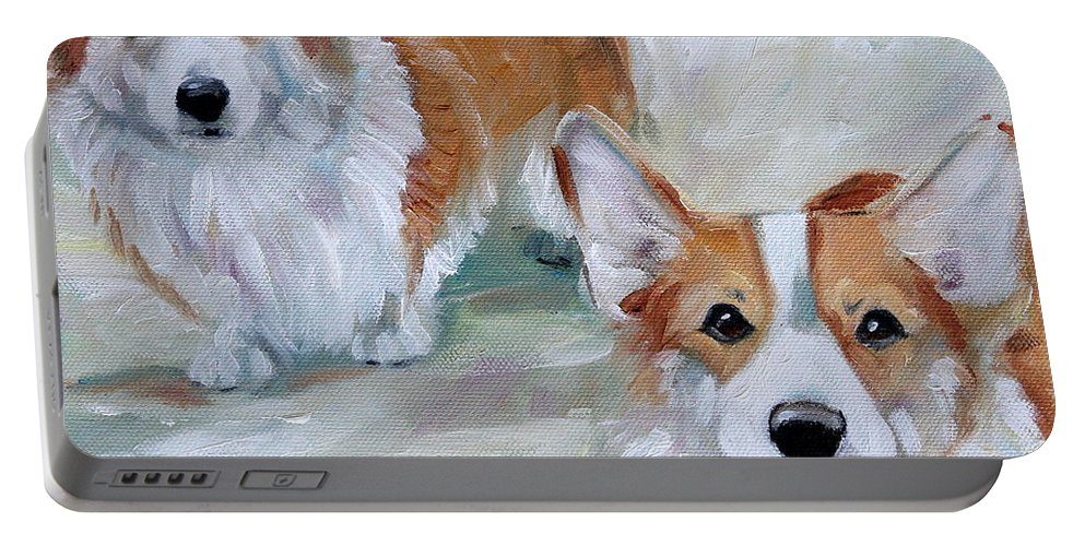 Art Portable Battery Charger featuring the painting Smarty And Rosie by Mary Sparrow
