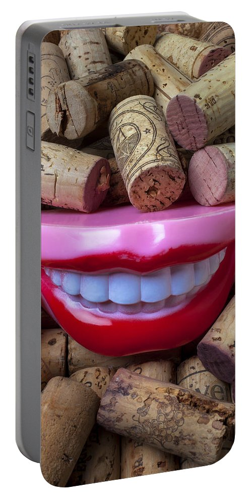 Smile Portable Battery Charger featuring the photograph Smile Among Wine Corks by Garry Gay