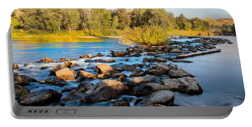 Idaho Portable Battery Charger featuring the photograph Smooth Rapids by Robert Bales