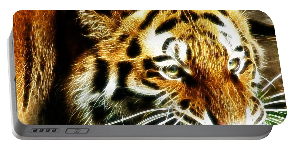 Tiger Portable Battery Charger featuring the photograph Snarling Tiger by Darleen Stry