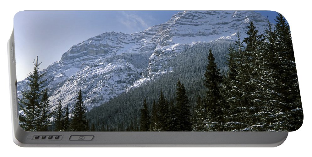 Alberta Portable Battery Charger featuring the photograph Snow Capped Mountain by Roderick Bley