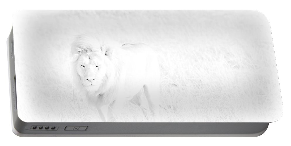 Africa Portable Battery Charger featuring the photograph Snow Lion by Darcy Michaelchuk
