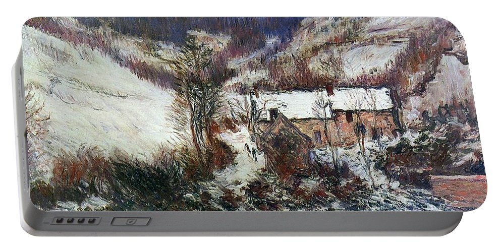 Snow Near Falaise Portable Battery Charger featuring the painting Snow Near Falaise by Claude Monet