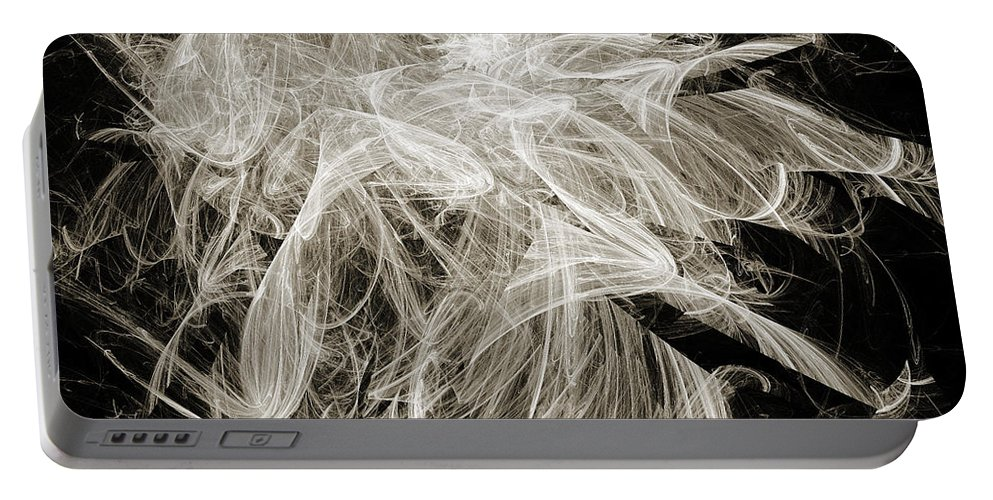 Fine Art Portable Battery Charger featuring the digital art Snow Storm Abstract by Andee Design