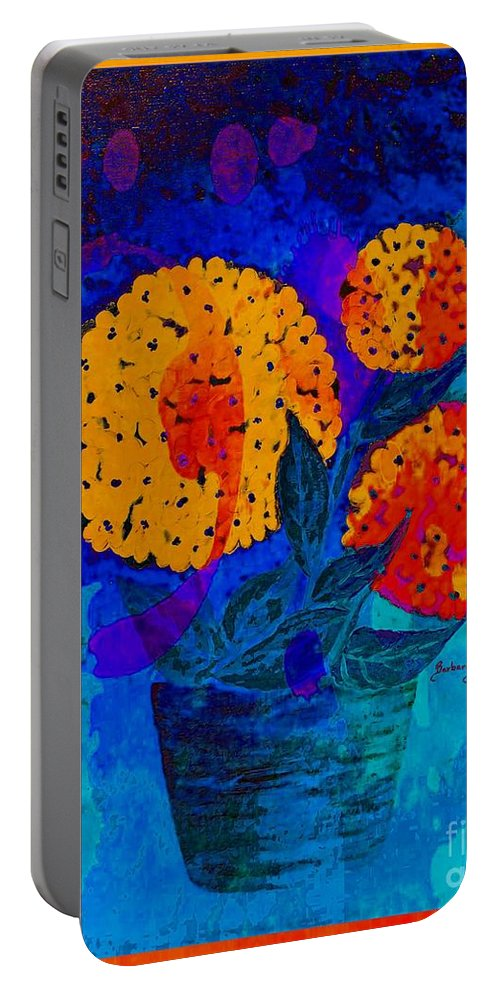 Snowball Plant Abstract Portable Battery Charger featuring the digital art Snowball Plant Abstract 2 by Barbara Griffin