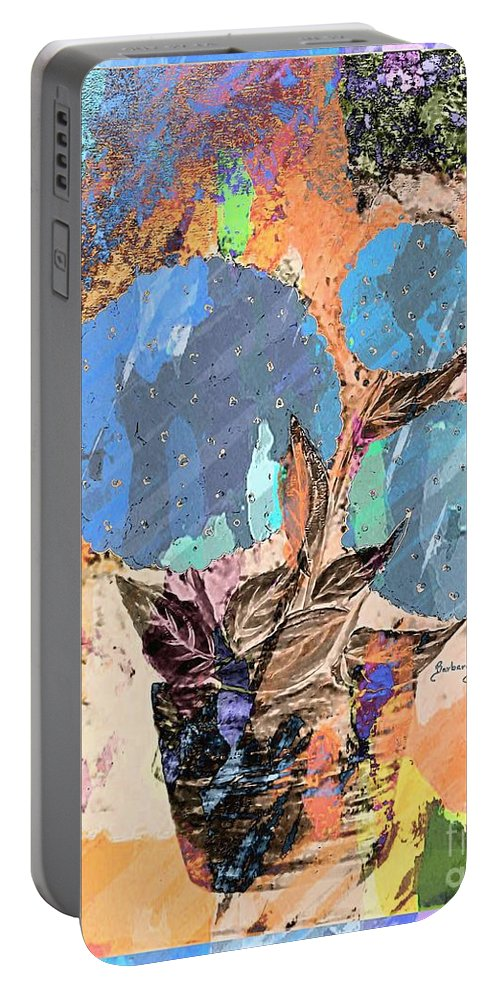 Snowball Plant Abstract Portable Battery Charger featuring the digital art Snowball Plant Abstract 3 by Barbara Griffin