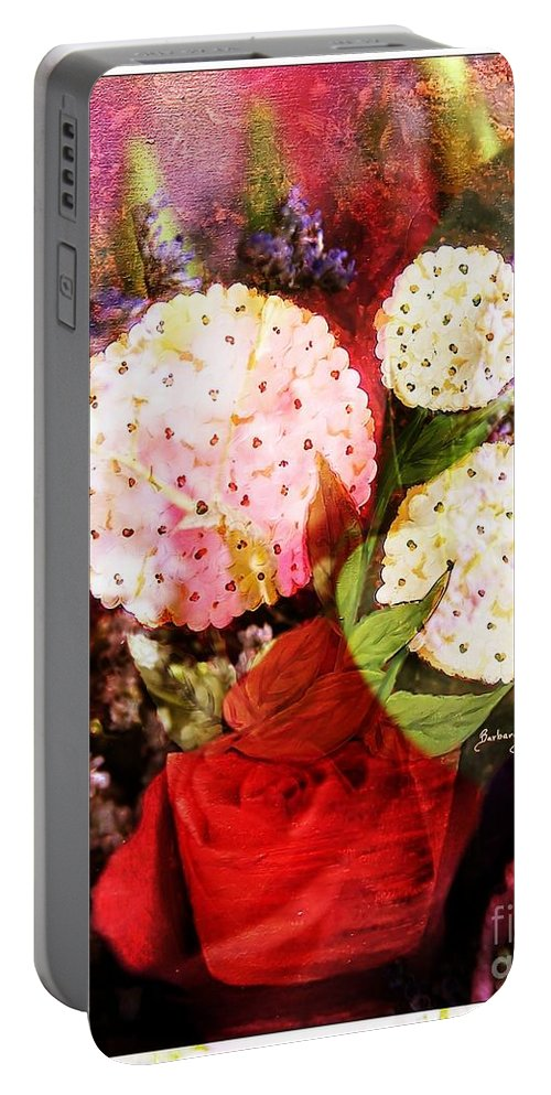 Snowball Plant Abstract Portable Battery Charger featuring the digital art Snowball Plant Abstract 4 by Barbara Griffin
