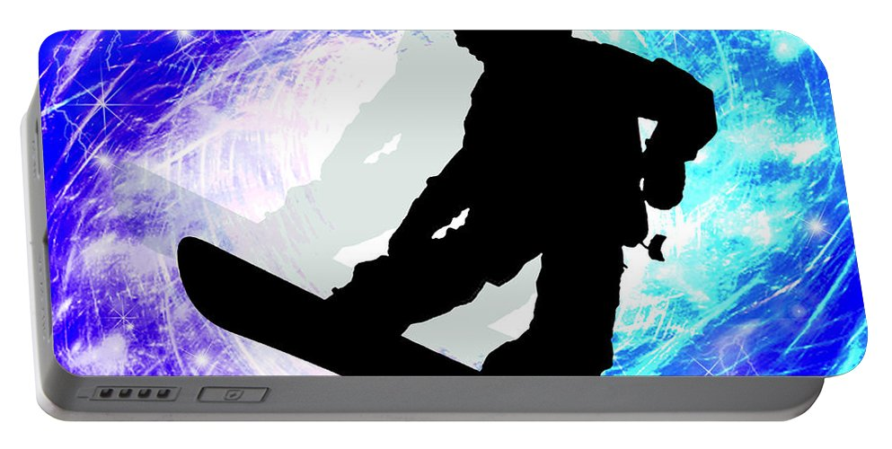 Snowboard Portable Battery Charger featuring the painting Snowboarder In Whiteout by Elaine Plesser