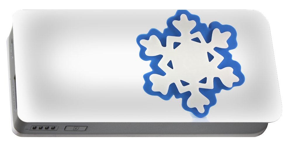 Background Portable Battery Charger featuring the photograph Snowflake With Reflection by Simon Bratt Photography LRPS