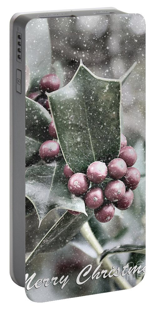 Snowy Portable Battery Charger featuring the photograph Snowy Holly Christmas Card by Jim And Emily Bush