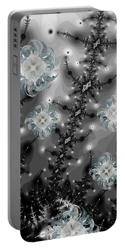 Snow Portable Battery Charger featuring the digital art Snowy Night II Fractal by Betsy Knapp