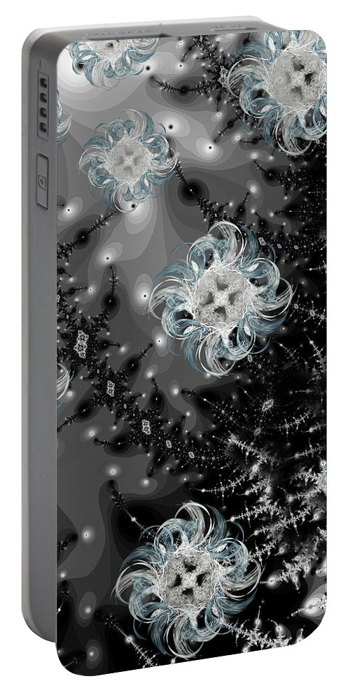 Fractal Portable Battery Charger featuring the digital art Snowy Night IIi Fractal by Betsy Knapp