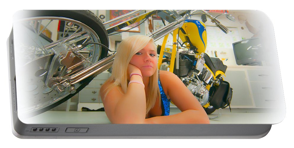 Harley Portable Battery Charger featuring the photograph Soft N Sweet Harley Chopper by Randall Branham