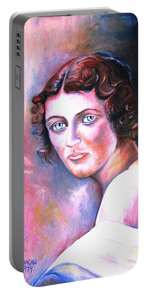 Portrait Portable Battery Charger featuring the painting Soft Shoulder by Carole Spandau