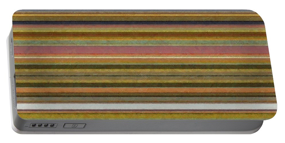 Textured Portable Battery Charger featuring the painting Soft Stripes L by Michelle Calkins