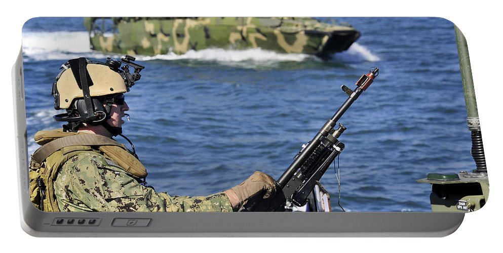 Exercise Bold Alligator Portable Battery Charger featuring the photograph Soldier Mans A M240g Machine Gun While by Stocktrek Images