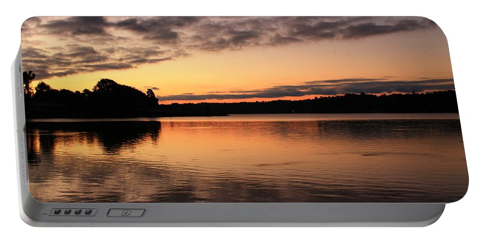 Sunrise Portable Battery Charger featuring the photograph Sorbet Skies by Catie Canetti