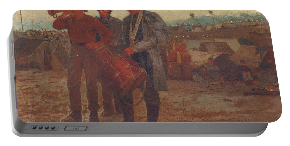 Sounding Reveille Portable Battery Charger featuring the painting Sounding Reveille by Winslow Homer