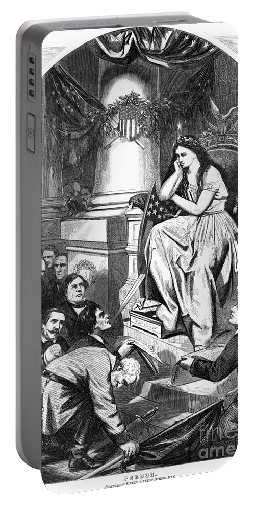 1865 Portable Battery Charger featuring the photograph Southern Pardon Cartoon by Granger