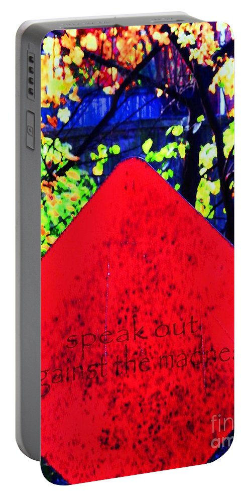 Words Portable Battery Charger featuring the digital art Speak Out by Lizi Beard-Ward