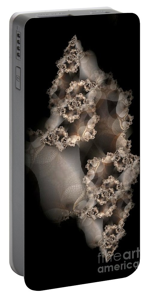 Fractal Portable Battery Charger featuring the digital art Spider Silk by Ron Bissett