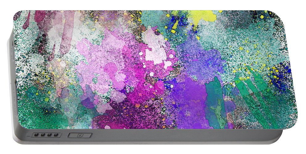 Abstract Portable Battery Charger featuring the photograph Splattered Colors Abstract by Debbie Portwood