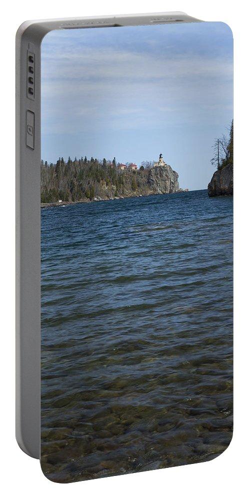 Split Portable Battery Charger featuring the photograph Split Rock Lighthouse 86 by John Brueske