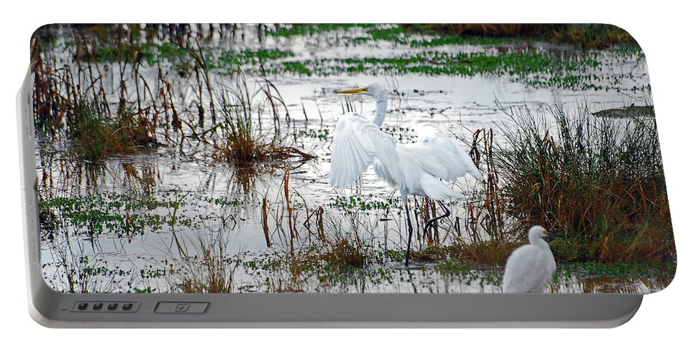 Great Egret Portable Battery Charger featuring the photograph Spread Your Wings by Lori Tambakis