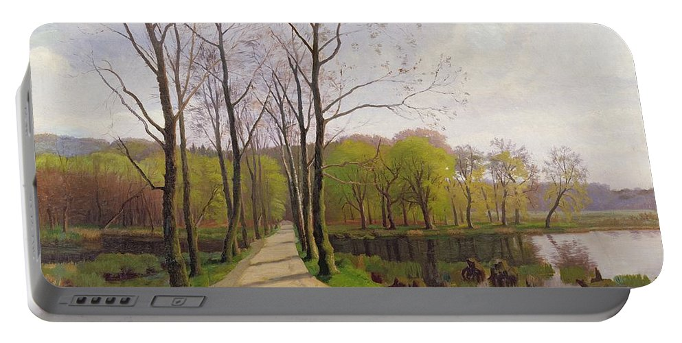 Spring Landscape Portable Battery Charger featuring the painting Spring Landscape by Hans Brasen