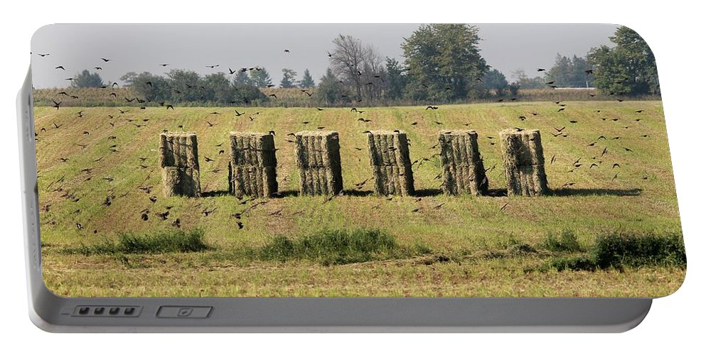 Farm Portable Battery Charger featuring the photograph Square Hay Bales by J McCombie