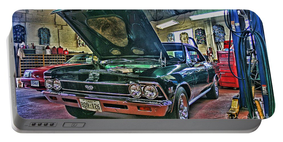 Cars Portable Battery Charger featuring the photograph Ss In The Shop Hdr by Randy Harris