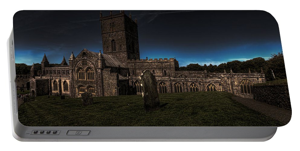 St Davids Cathedral Portable Battery Charger featuring the photograph St Davids Cathedral Pembrokeshire Dusk by Steve Purnell