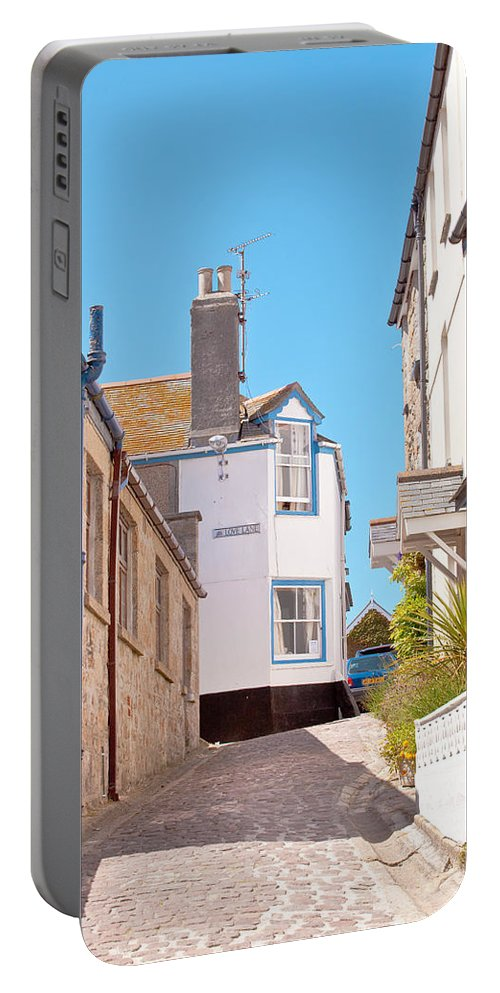 Blue Portable Battery Charger featuring the photograph St Ives Street by Tom Gowanlock