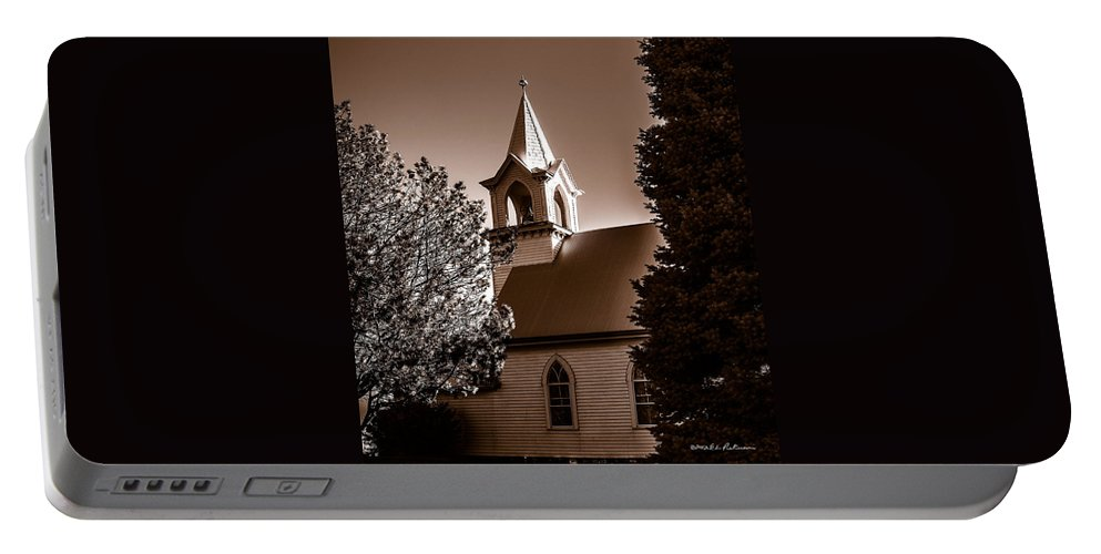 Rural Church Portable Battery Charger featuring the photograph St. John's Lutheran Church In The Trees by Edward Peterson