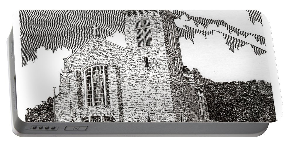 Inspirational Art Portable Battery Charger featuring the drawing St. Joseph Apache Cathedral by Jack Pumphrey