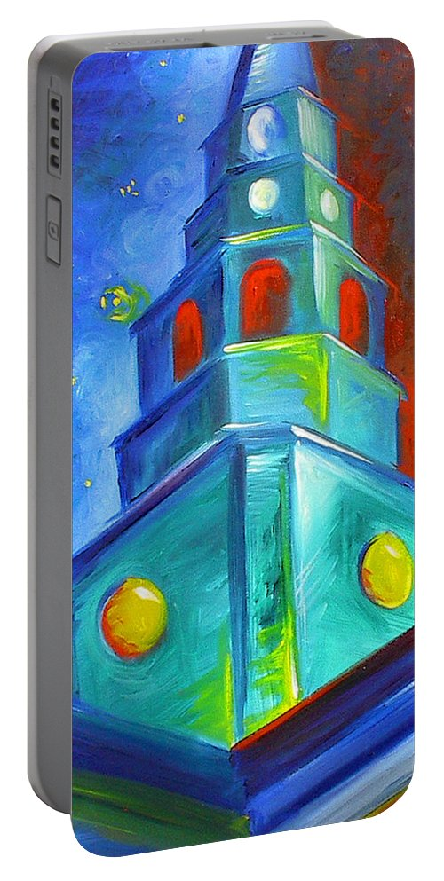 Sky; Impressionist; House; Charleston; Tree; Flowers; Blue; Red; Green; Yellow; Contemporary; Street; Road; Vintage; Old; Southern; Antebellum; James Christopher Hill; Jameshillgallery.com; Ocean; Lakes; Creation; Genesis; Church Portable Battery Charger featuring the painting St. Michael's Church by James Christopher Hill