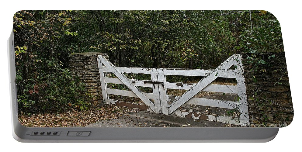 Landscape Portable Battery Charger featuring the photograph Stable Gate by Susan Herber