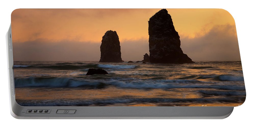 Seastacks Portable Battery Charger featuring the photograph Stacks Of Gold by Mike Dawson