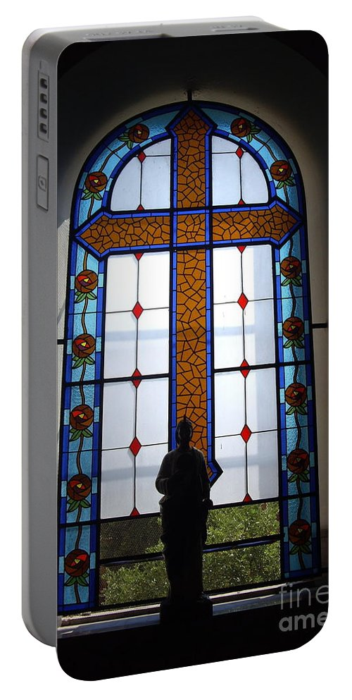 Aimee Mouw Portable Battery Charger featuring the photograph Stained Glass Cross Window Of Hope by Aimee Mouw