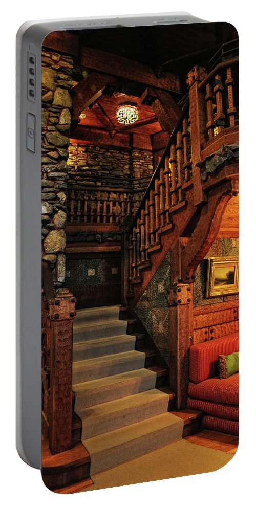 Gillette Castle Portable Battery Charger featuring the photograph Stairway In Gillette Castle Connecticut by Dave Mills
