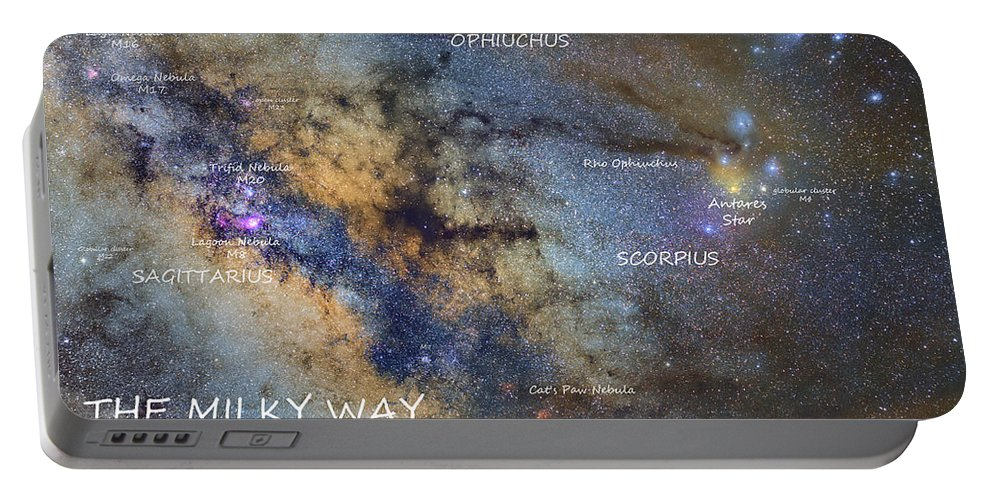 Milky Way Portable Battery Charger featuring the photograph Star Map Version The Milky Way And Constellations Scorpius Sagittarius And The Star Antares by Guido Montanes Castillo
