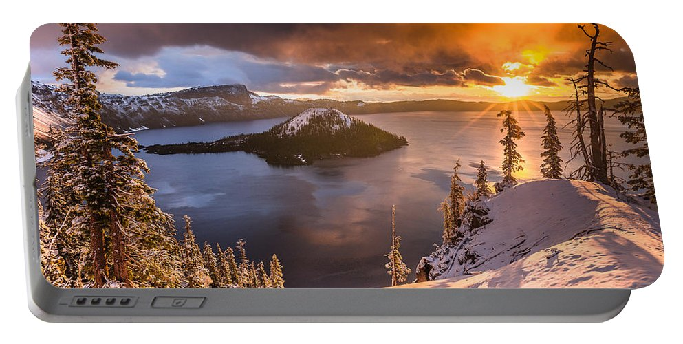 Cascades Portable Battery Charger featuring the photograph Starburst Sunrise At Crater Lake by Greg Nyquist