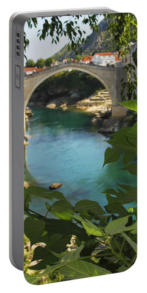 Blue Sky Portable Battery Charger featuring the photograph Stari Most Or Old Town Bridge Over The by Trish Punch