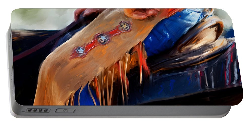 Horse Art Canvas Prints Portable Battery Charger featuring the painting Stars And Stripes by Michelle Wrighton