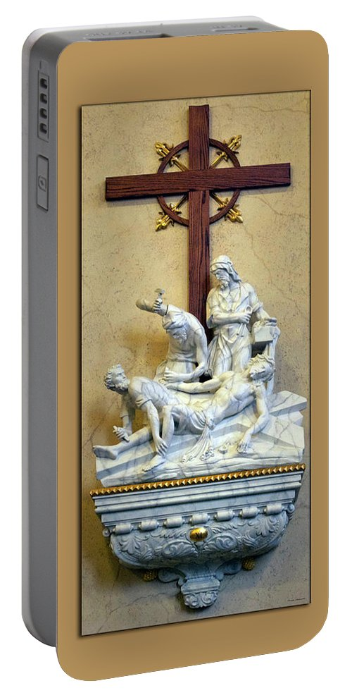 Statue Portable Battery Charger featuring the photograph Station Of The Cross 11 by Thomas Woolworth
