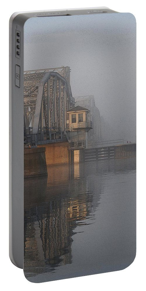 Steel Bridge Portable Battery Charger featuring the photograph Steel Bridge In Fog - Vertical by Tim Nyberg