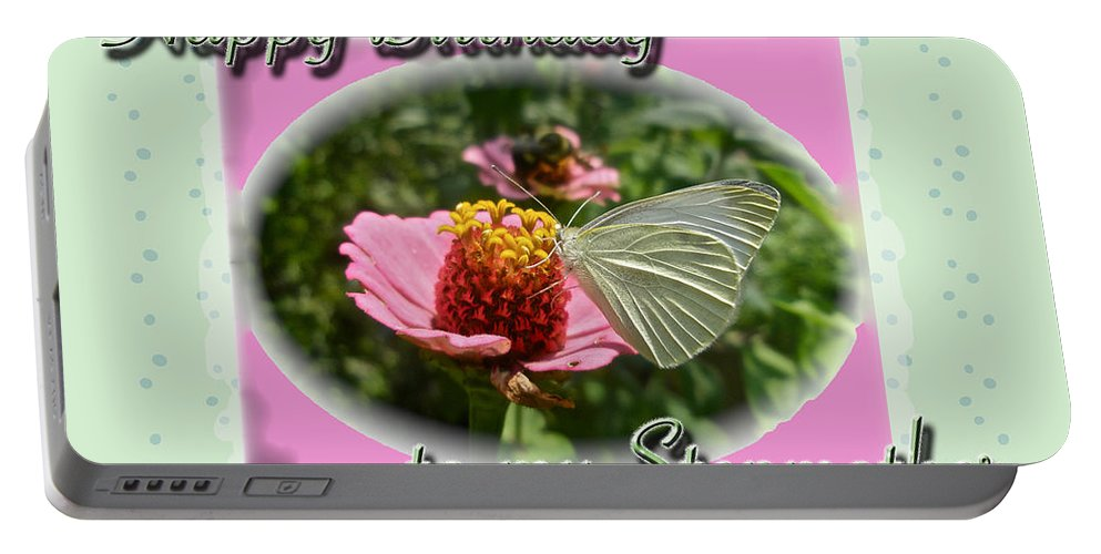 Birthday Portable Battery Charger featuring the photograph Stepmother Birthday Greeting Card - Butterfly On Flower by Mother Nature